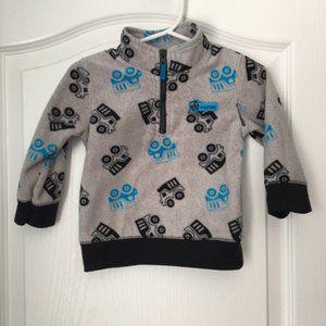 3/$15 Carter's Fleece pullover gray w/Dump trucks